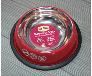 13111 Metal bowl with rubber edge, design - 250ml