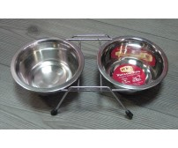 13110 Metal bowl double, with stand - 2 x 200ml